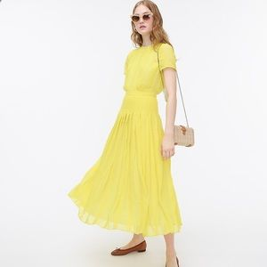J crew midi dress yellow embroidered chiffon 10